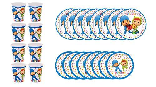 ALMACENESADAN 1104, Pack Fiestas y cumpleaños Pocoyo y Nina, Compuesto por 8 Vasos, 8 Platos 18 cm y 8 Platos 23 cm