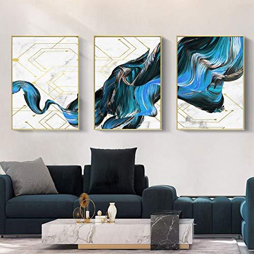 MMLFY 3 Decoratieve schilderijen 3 stuks Art Marmer textuur lijm lijn canvas poster muurkunst print moderne stijl Painting Home Decoration Afbeeldingen No Frame 30 x 40 cm x 3 No Frame