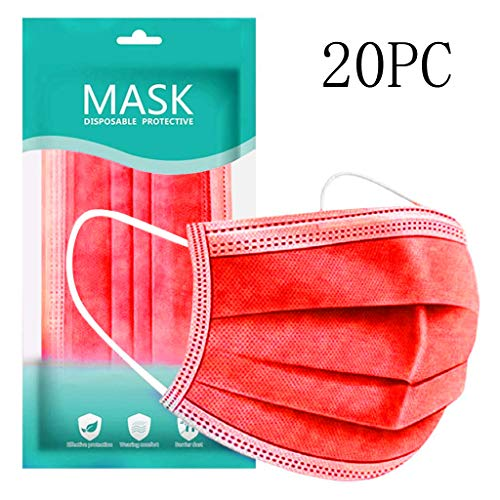 New Disposable Face Macks, 3-Ply (20, Red)