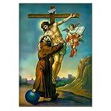 Poster Jesus Christus am Kreuz umarmt St. Francis of Assisi