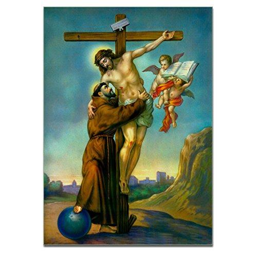 Jesucristo en la cruz besando a San Francisco de Asís Póster de la Biblia Poster Tamaño A3