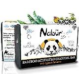 Nabür - Savon Charbon Actif de Bambou | Jojoba, Coco, Palmarosa | Savon Exfoliant - Peau type Acné, Points noirs | Fabriqué en France - 100gr
