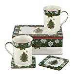Spode Christmas Tree Annual Becher, Dose und Untersetzer, 5-teiliges Set