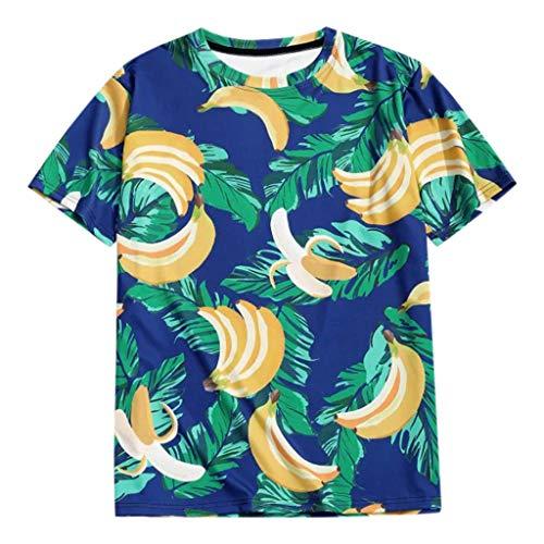 ODRD Herren Banane T Shirts, HOT SALE Oversize Shortsleeve Hawaii Banana 3D-Print Vintage Jugend T-Shirt Blouse Tops O-Neck Basic O-Ausschnitt Shirt Clearance Sale