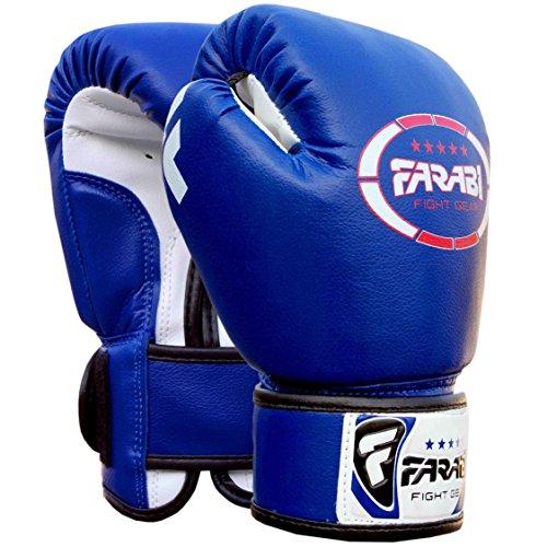 Farabi Kids Boxhandschuhe Kunstleder für das Training Stanzen Sparring Combat Fitness Gym Workout (Blau, 4 Unzen)