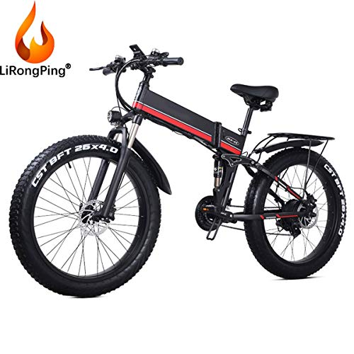 LiRongPing 1000W Electric Bike Adult Electric Mountain Bike, 26' Ebike 40Mph with Removable 48v/12.8Ah Lithium Battery, Professional 21 Speed Gears