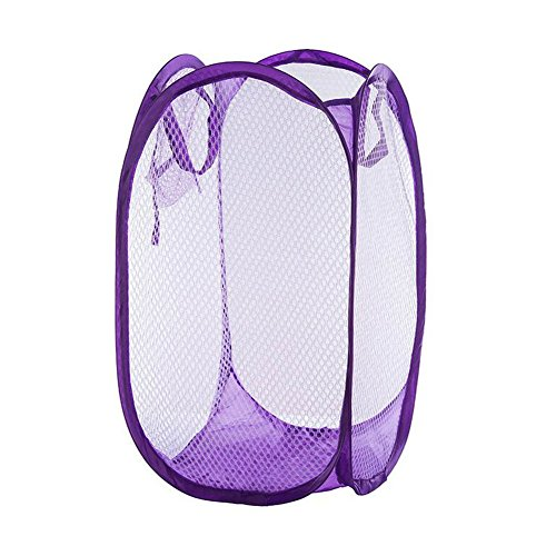 Yuccer Mesh Popup Laundry Hamper Bags, Foldable Dirty Clothes Hamper Basket for Home Travel Storage Organizer (Purple)