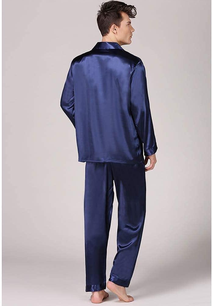 FMOGG Men's Pajama Set Long Sleeve Sleepwear Lightweight Button Down Tops and Pants/Bottoms Classic Imitation Silk Loungewear Set