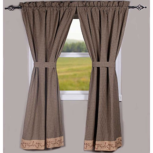 "Primitive Home Decors Berry Vine Gingham Black and Nutmeg 72"" x 63"" Lined Cotton Curtain Panels"