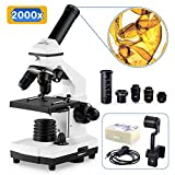 200X-2000X Microscopes for Kids Students Adults, with Microscope Slides Set, Phone Adapter, Powerful