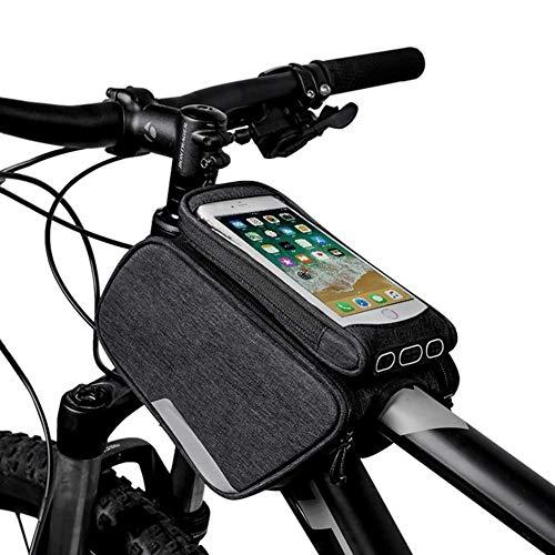 ZHANGXJ MTB Nuevo Bolsas para el Manillar Bolsa Bici Soporte para Telefono Móvil Impermeable Bolsa Táctil de Tubo Superior Delantero Bolsas de Bicicleta, Negro Herramienta