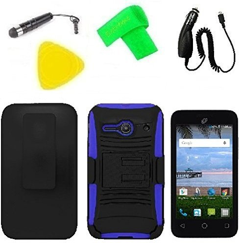Holster w Hybrid Phone Cover Case Phone Accessory + Car Charger + Screen Protector + Extreme Band + Stylus Pen + Pry Tool For Alcatel Onetouch Pixi PULSAR LTE A460G (Belt Clip Holster Black/Blue)