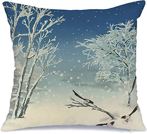 Decorative Linen Square Throw Pillow Cover Christmas Artistic Painting Winter Tree Crow Watercolor Day Season Nature Parks Outdoor December Soft Cushion Pillowcase Case For Bed Chair 18 X 18 Inch