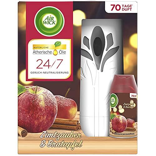 Air Wick Freshmatic Max – Starter-Set mit Gerät und 1 Nachfüller – Batteriebetrieben – Duft: Zimtzauber und Bratapfel – 1 x 250 ml Nachfüller plus Gerät in Weiß