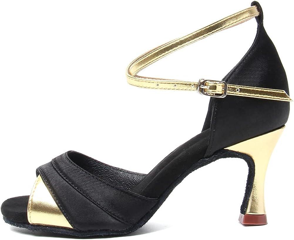 HIPPOSEUS Women's Latin Dance Shoes Ballroom Party Dance Practice Performance Shoes Suede Sole High Heel Model L066