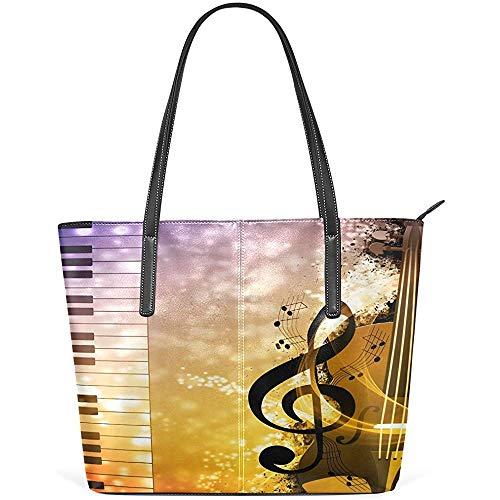 G.H.Y Abstrakte Musik Nacht Klavier PU Leder Schultertasche Tasche für Frauen Mädchen