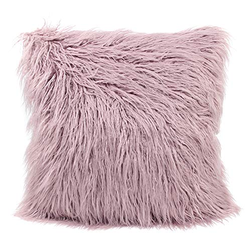 MHJY Faux Fur Pillow Case,Mongolian Fluffy Pillow Cover Soft Plush Throw Pillow Case Cushion Cover Deluxe Home Decor Bed Sofa Car Decorative Pillowcase(18 x 18 Inch)