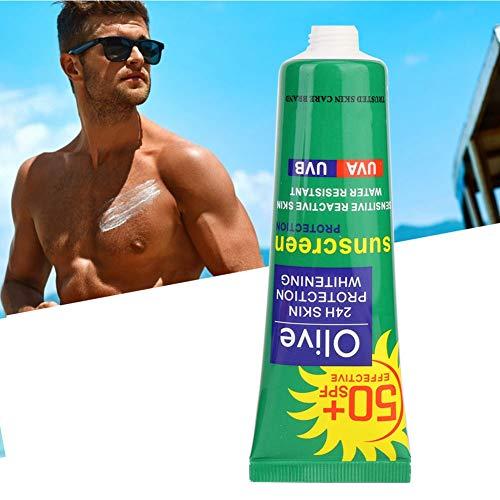 Crema de protección solar hidratante, protección solar de verano para el rostro y el cuerpo, protección solar blanqueadora UV de larga duración, SPF 50+, 50 g [aceite de oliva], crema solar de protecc