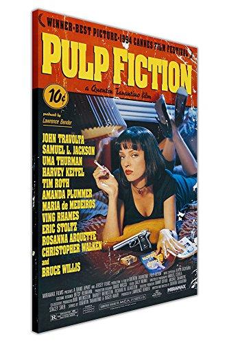 Pulp Fiction Film-Poster, gedrucktes Wandbild, Raum-Dekoration, Motiv: Cover Quentin Tarantino (Aufschrift nicht in deutscher Sprache), canvas holz, 09- A0 - 40