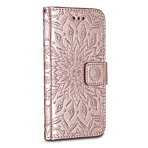 iPhone 6 Plus / iPhone 6S Plus Case Cover, Casake [Ripple] [High Quality Pu Leather] [Card Slot] [Wallet Leather Flip Case] for iPhone 6 Plus / iPhone 6S Plus Case, Rose Gold