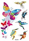 Full Arm Animals Adultos Pegatinas Falsas Art Sticker Cover Up Set Suministros No Tóxicos E Impermeables Para Niños Niñas Adultos Imagen De Flor De Pájaro Mariposa Con Purpurina 105X148Mm-3Pcs
