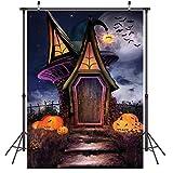 LYWYGG 5x7ft Feliz Halloween Telón de Fondo Horror Noche Cuento de Hadas Casa Calabaza Cara Bat...
