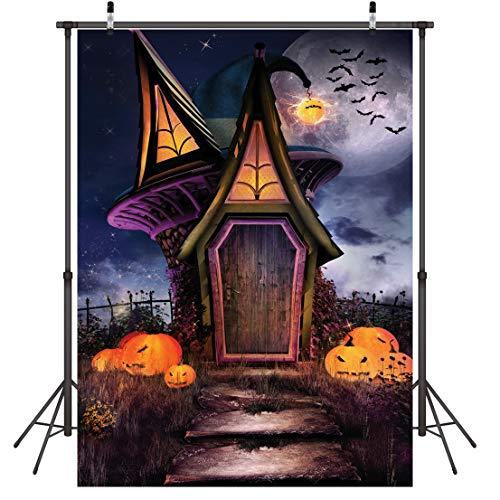 LYWYGG 5x7ft Feliz Halloween Telón de Fondo Horror Noche Cuento de Hadas Casa Calabaza Cara Bat Party Fotografía de Fondo para Imágenes Bebé Niños CP-58