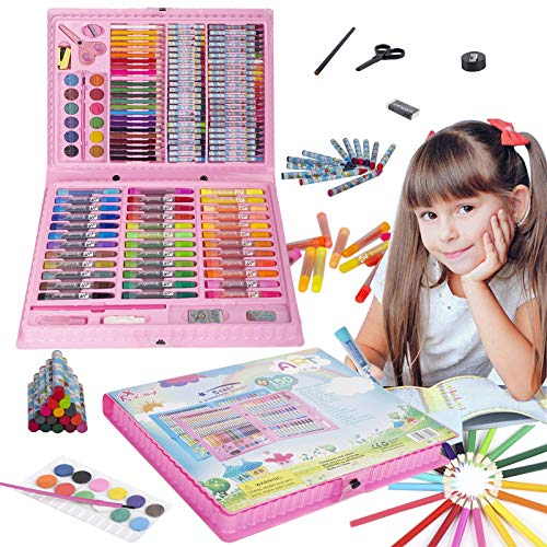 KINSPORY 150 PCS Portable Inspiration & Creativity Coloring Art Set Painting & Drawing Supplies Kit, Markers, Crayons, Colour Pencils, Palette - Pink