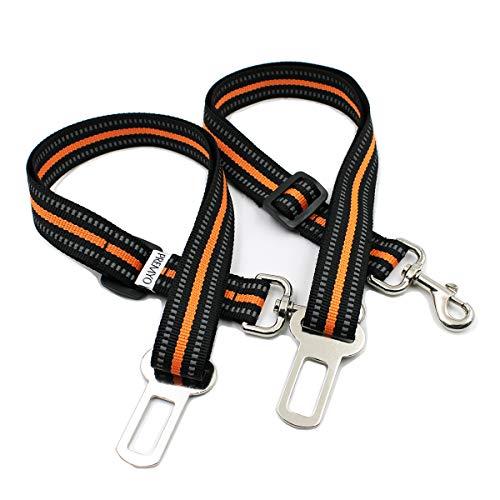 PREMYO 2er Set Hundegurt fürs Auto - Sicherheitsgurt Hunde Anschnallgurt - 50cm Kurz bis 90cm Lang - Reflektierend