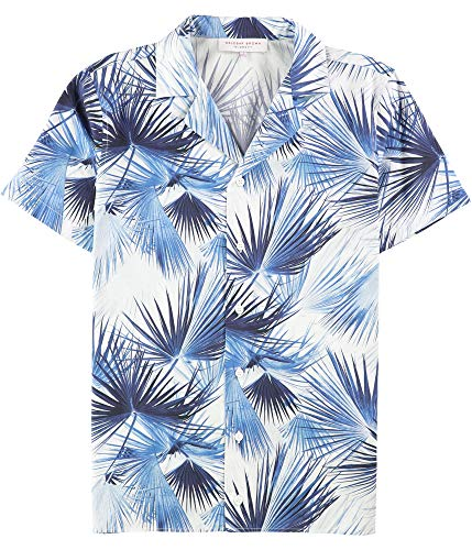 Orlebar Brown Mens Nice and Palm Button Up Shirt, Blue, Small