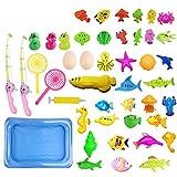 ASANMU Ucradle Magnetisches Angeln Spielzeug, 45 Stück Wasserspiele Badewanne Lernspielzeug Geeignet Zum Angeln Angelspielzeug Set Badespielzeug Perfekte Lernspiele für Kleinkinder Kindern Geschenke
