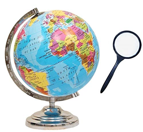 GeoKraft Educational Political Laminated 8 Inches Rotating World Globe with Steel Finish Arc and Base / World Globe / Home Decor /Office Decor / Gift Item (Blue)