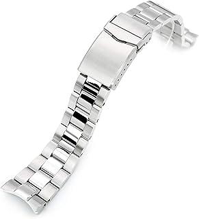 Strapcode, bracciale per orologio, 22 mm, super 3D, in acciaio inox 316L, per Orient Triton, chiusura a V, lucido e spazzo...