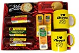 I LOVE CHEESE GOURMET Gift Basket- A Great Cheese Gift featuring, Naturally Smoked Summer Sausages, Wisconsin cheese, crackers, and 2 Mugs with Wisconsin sayings!