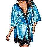 Frauen Lange Seide Kimono Morgenmantel Bademantel Babydoll Dessous Nachthem o PD