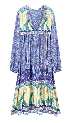 R.Vivimos Damen Beiläufig Bohemien Drucken Krawatte Langarm Strand Stil Lang Midi Kleid Berufung Kleid (Groß, Blau)