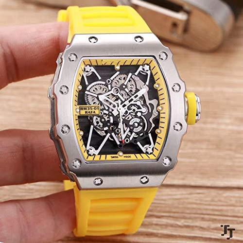 Herrenuhr Rubber Sapphire Edelstahl 904l Automatik Mechanik Silber Tourbillon Skeleton Uhren Limited Gelb