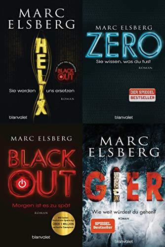 4 Romane im Set Helix/ Zero/ Blackout/ Gier + 1 exklusives Postkartenset