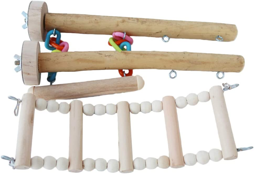 POPETPOP 4pcs price Wood Ladder Bird free Parrot Swing Toys Toy