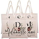 Personalized Tote Bag for Events Bachelorette Party Baby Shower Bridal Shower Bridesmaid Christmas Gift Bag   Customize Maid and Matron of Honor Gifts   Red Half Wreath Floral Initial   C1D02-Set of 6
