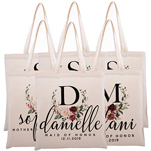 Personalized Tote Bag for Events Bachelorette Party Baby Shower Bridal Shower Bridesmaid Christmas Gift Bag | Customize Maid and Matron of Honor Gifts | Red Half Wreath Floral Initial | C1D02-Set of 6