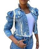 GRMO Women's Button Down Stylish Ripped Stars Print Slim Fit Jeans Jacket Light Blue L