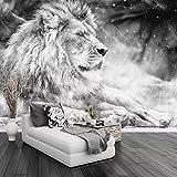 Custom Po Wallpaper Mural Black and White Animal Lion Papier Peint Mural 3D Living Room Sofa Bedroom Background Decor Paper
