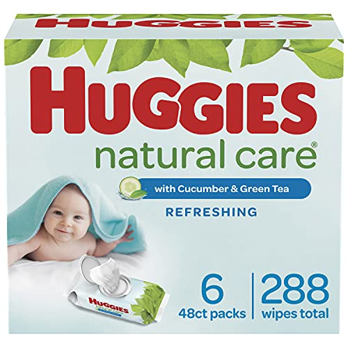 Baby Wipes, Huggies Natural Care Refreshing Baby Diaper Wipes, Hypoallergenic, Scented, 6 Flip-Top Packs (288 Wipes Total)