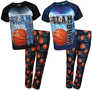 Image of 2 Pack Slam Dunk Basketball Boys Short Sleeve Pajamas - See More 2 Packs