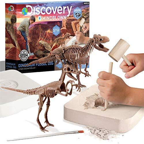 Discovery #MINDBLOWN Dinosaur Fossil Dig Excavation Kit, 15 Piece T-Rex & 10 Piece Velociraptor
