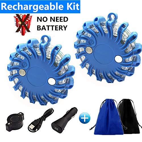 STARPIA Luces LED de Advertancia, 2pcs USB Recargable para Coche Emergencia LUZ Estroboscópica con Base Magnética&Bolsa (Azul)