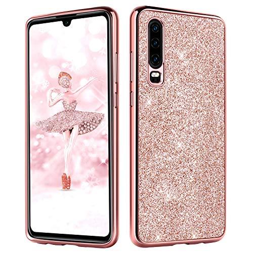 DUEDUE Huawei P30 Hülle Glitzer Handyhülle Huawei P30 Glitter Slim Hülle PC Schale Hardcase Leicht Dünn Schutzhülle [Glänzendes Design] Glitzer Bling Schutzhülle für Huawei P30 - Rosa Gold