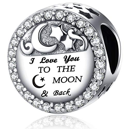 YOUFENG Jewellery S925 Sterling Silver Charms for Pandora Charms Bracelet I Love You to The Moon and Back Bead Charm Gifts for Woman