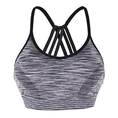 DODOING Women's Medium Support Strappy Sports Bra Racerback Yoga Bras Running Gym Athletic Vest
